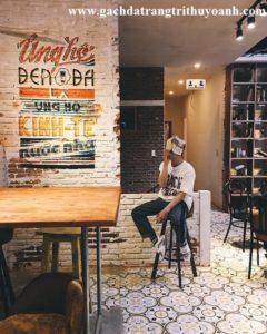 Phá cách cho quán cà phê bằng gạch không trát