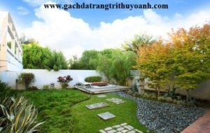 Sỏi đen trang trí sân vườn