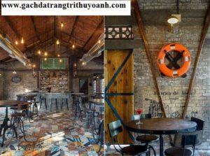 Trang trí quán cà phê bằng gạch bông ngẫu nhiên