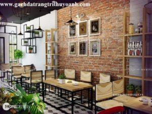 trang trí tường cho quán ăn, nhà hàng, quán cafe bằng gạch đất nung