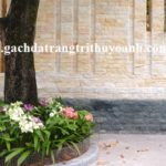 Ốp chân tường xung quanh nhà bằng đá bóc xanh rêu