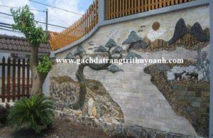 Tiểu cảnh sân vườn trang trí bằng đá răng lược trắng