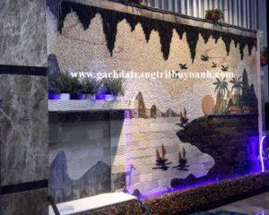Tranh đá ốp tường bằng đá răng lược trắng