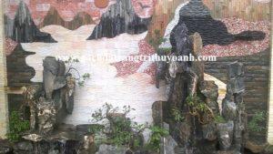 Tiểu cảnh sân vườn được trang trí bằng đá răng lược trắng