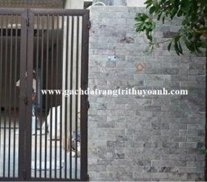 Đá mài bóng bông mai tô điểm cho bức tường cổng